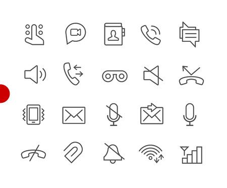 Web- und Mobilsymbole 1 // Red Point Series - Vektorliniensymbole für Ihre Digital- oder Druckprojekte Vektorgrafik