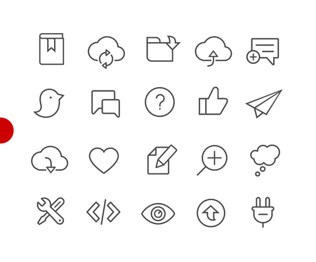 Web & Mobile Icons 8 // Red Point Series - Vector line icons for your digital or print projects