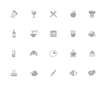 Food Icons - Set 1 of 2  32 pixels Icons White Series - Vector icons designed to work in a 32 pixel grid.