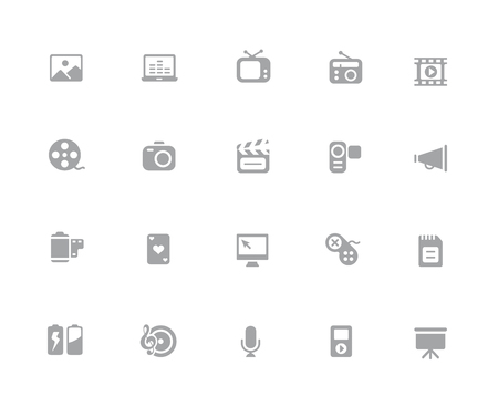 Multimedia Icons  32 pixels Icons White Series - Vector icons designed to work in a 32 pixel grid. Ilustração