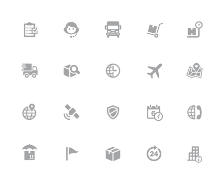 Shipping & Tracking Icons  32 pixels Icons White Series - Vector icons designed to work in a 32 pixel grid.