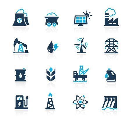 Iconos de ecología y energías renovables en blanco Ilustración de vector