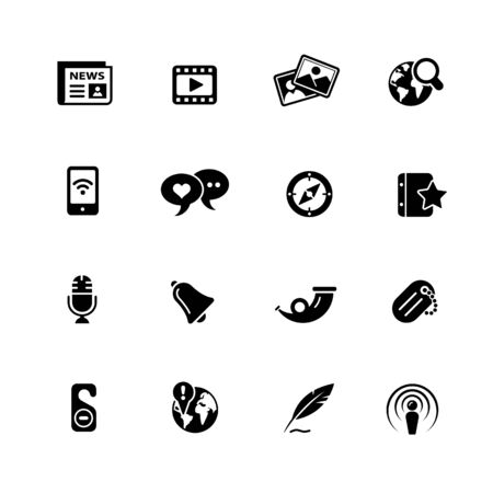 New Media // Black Series - Vector black icons for your web or media projects. Ilustrace