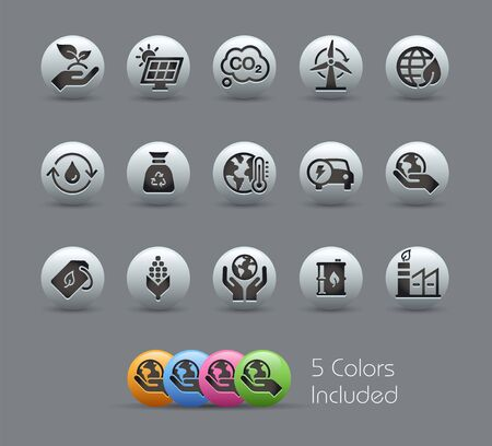 Ecology & Renewable Energy Icons // Pearly Series - The Vector file includes 5 color versions for each icon in different layers -