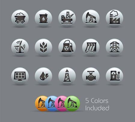 Energy Icons // Pearly Series - The Vector file includes 5 color versions for each icon in different layers - Ilustrace
