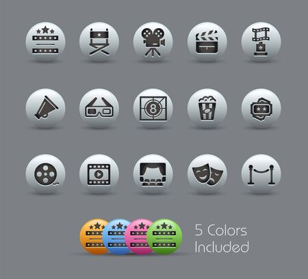 Film Industry and Theater Icons // Pearly Series - The Vector file includes 5 color versions for each icon in different layers -