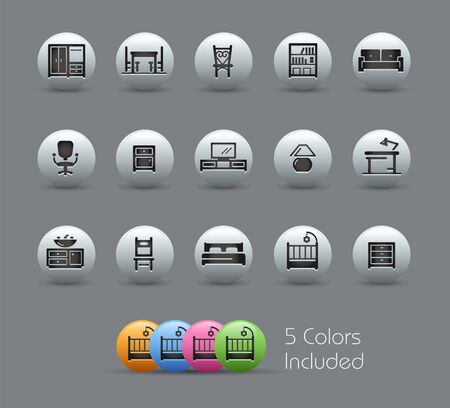 Furniture Icons // Pearly Series - The Vector file includes 5 color versions for each icon in different layers - Ilustrace
