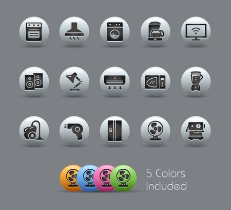 Household Appliances Icons // Pearly Series - The Vector file includes 5 color versions for each icon in different layers -