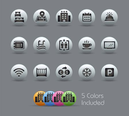 Hotel & Rentals Icons 1 of 2 // Pearly Series - The Vector file includes 5 color versions for each icon in different layers -