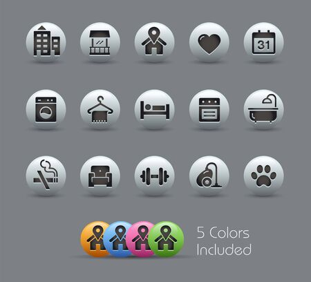 Hotel & Rentals Icons 2 of 2 // Pearly Series - The Vector file includes 5 color versions for each icon in different layers -