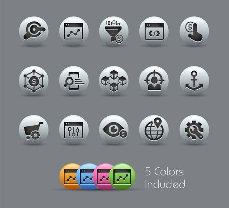 SEO & Digital Martketing Icons 1 of 2 // Pearly Series - The Vector file includes 5 color versions for each icon in different layers -