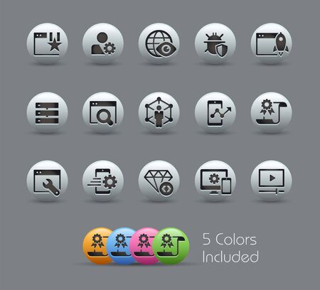SEO & Digital Marketing Icons 2 of 2 // Pearly Series - The Vector file includes 5 color versions for each icon in different layers - Ilustração