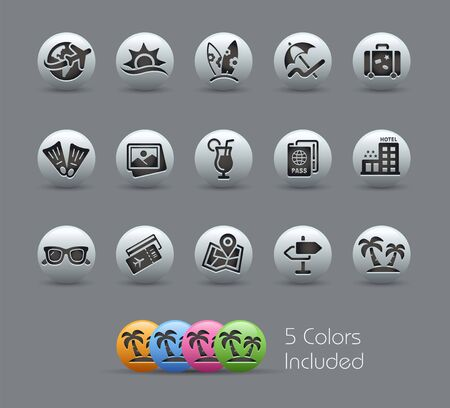Summer Vacations Icons // Pearly Series - The Vector file includes 5 color versions for each icon in different layers - Illustration