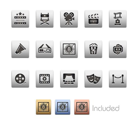 Film Industry and Theater Icons - The vector file includes 4 color versions for each icon in different layers.