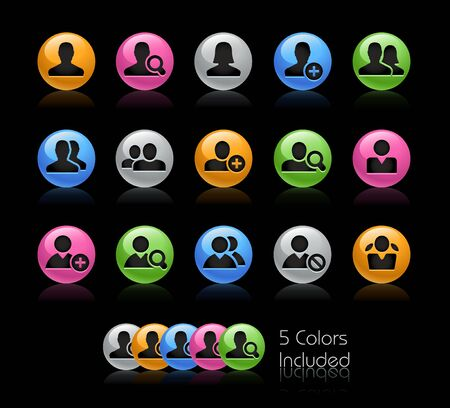 Avatar Icons // The vector file Includes 5 color versions in different layers. Ilustração