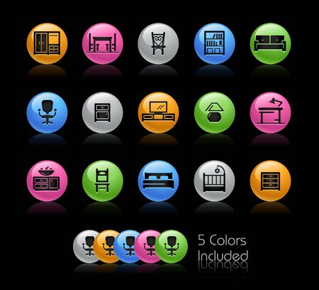 Furniture Icons // The vector file Includes 5 color versions in different layers.