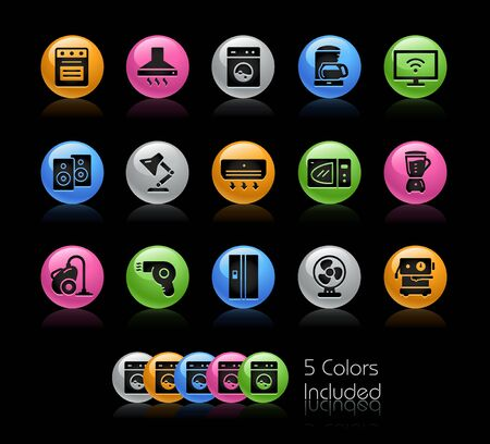 Household Appliances Icons // The vector file Includes 5 color versions in different layers. Ilustração