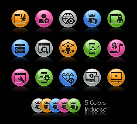 SEO and Digital Martketing Icons 2 of 2 // The vector file Includes 5 color versions in different layers. Ilustração