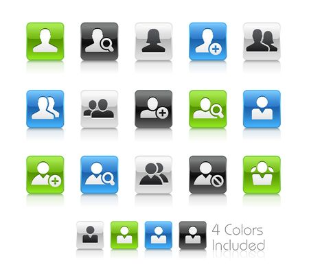 Avatar Icons - The vector file includes 4 color versions for each icon in different layers. Ilustração