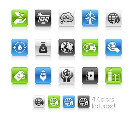 Ecology and Renewable Energy Icons - The vector file includes 4 color versions for each icon in different layers.
