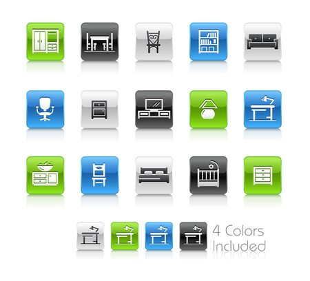 Furniture Icons - The vector file includes 4 color versions for each icon in different layers.