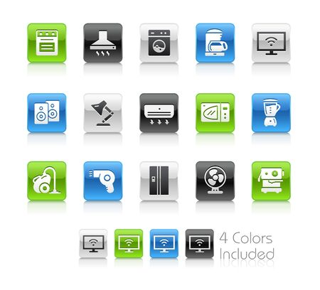 Household Appliances Icons - The vector file includes 4 color versions for each icon in different layers.