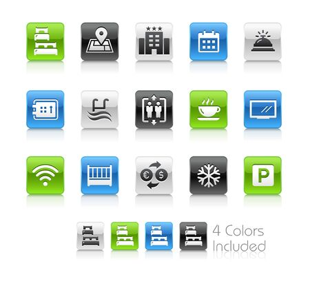 Hotel and Rentals Icons 1 of 2 - The vector file includes 4 color versions for each icon in different layers.