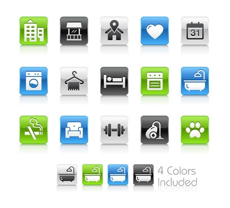 Hotel and Rentals Icons 2 of 2 - The vector file includes 4 color versions for each icon in different layers.