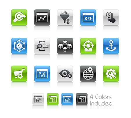 SEO and Digital Marketing Icons 1 of 2 - The vector file includes 4 color versions for each icon in different layers.