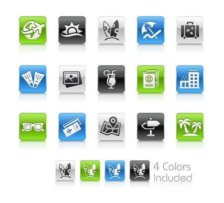 Summer Vacations Icons - The vector file includes 4 color versions for each icon in different layers.