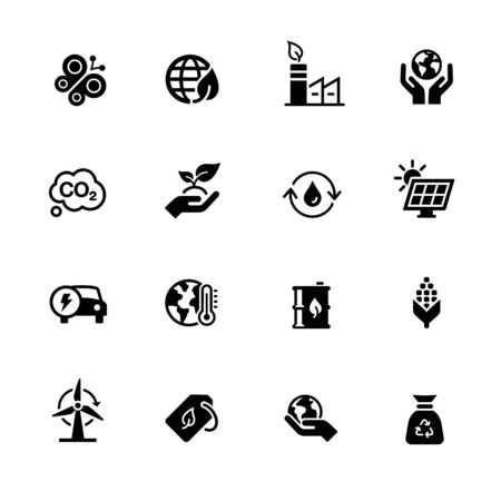 Ecology and Renewable Energy Icons // Black Series - Vector black icons for your digital, print or media projects. Ilustração
