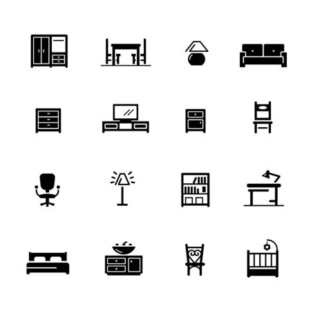 Furniture Icons // Black Series - Vector black icons for your digital, print or media projects.