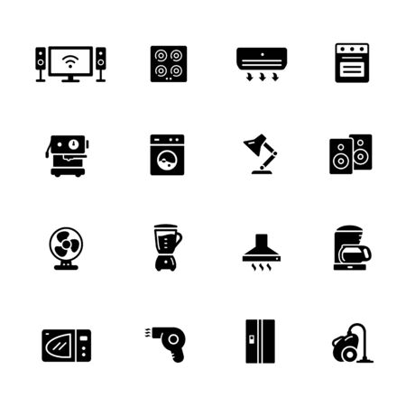 Household Appliances Icons // Black Series - Vector black icons for your digital, print or media projects. 일러스트
