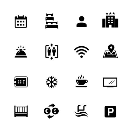 Hotel and Rentals Icons 1 of 2 // Black Series - Vector black icons for your digital, print or media projects. Ilustração
