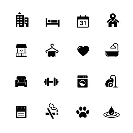 Hotel and Rentals Icons 2 of 2 // Black Series - Vector black icons for your digital, print or media projects.