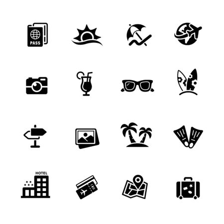 Summer Vacations Icons // Black Series - Vector black icons for your digital, print or media projects.