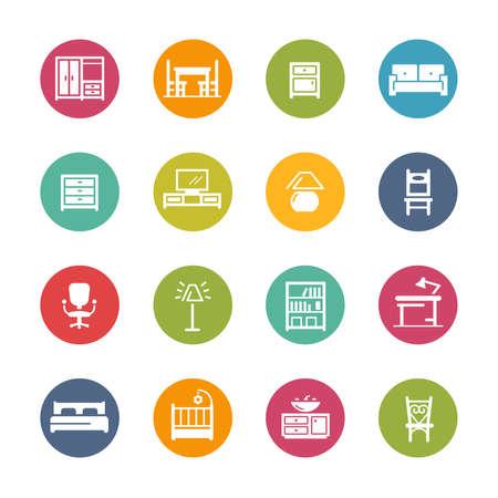 Furniture Icons // Fresh Colors Ilustración de vector