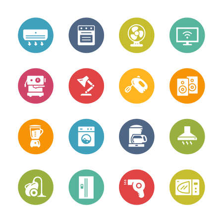 Household Appliances Icons // Fresh Colors