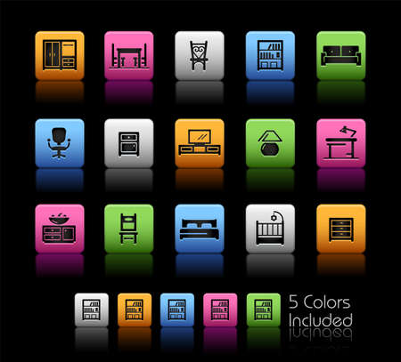 Furniture Icons ColorBox Series - The Vector file includes 5 color versions for each icon in different layers.