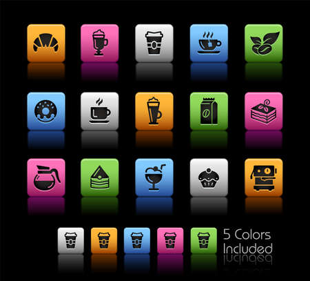 Coffee Shop Icons  ColorBox Series - The Vector file includes 5 color versions for each icon in different layers.