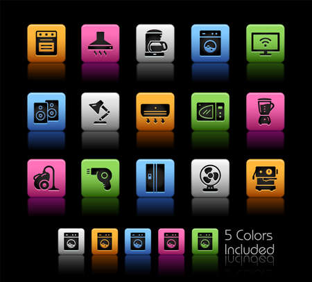 Home Appliances Icons ColorBox Series - The Vector file includes 5 color versions for each icon in different layers. Ilustração