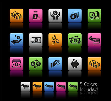 Money Icons ColorBox Series - The Vector file includes 5 color versions for each icon in different layers. Ilustração
