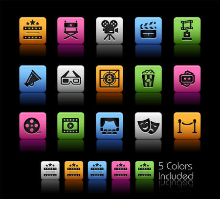 Film Industry and Theater Icons ColorBox Series - The Vector file includes 5 color versions for each icon in different layers.