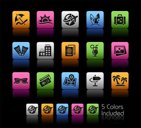 Summer Vacations Icons ColorBox Series - The Vector file includes 5 color versions for each icon in different layers.