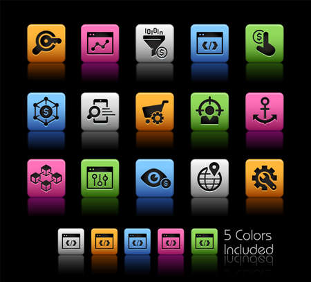 SEO and Digital Marketing Icons 1 of 2 ColorBox Series - The Vector file includes 5 color versions for each icon in different layers.