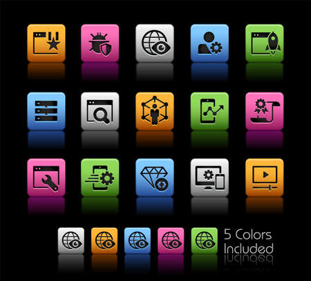 SEO and Digital Marketing Icons 2 of 2 ColorBox Series - The Vector file includes 5 color versions for each icon in different layers. Imagens - 151862170