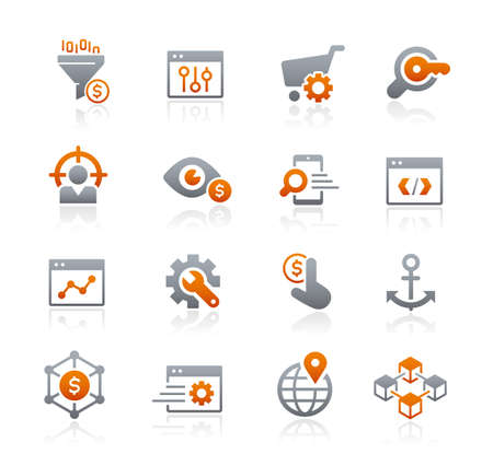 SEO and Digital Marketing Icons 1 of 2 // Graphite Series
