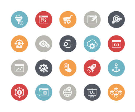 SEO & Digital Marketing Icons 1 of 2  Classics Series Vettoriali