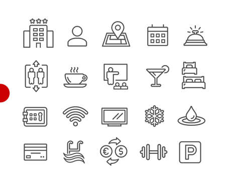 Hotel & Rentals Icons 1 of 2 // Red Point Series - Vector line icons for your digital or print projects.