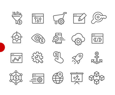 SEO & Digital Marketing Icons 1 of 2 // Red Point Series - Vector line icons for your digital or print projects. Ilustração